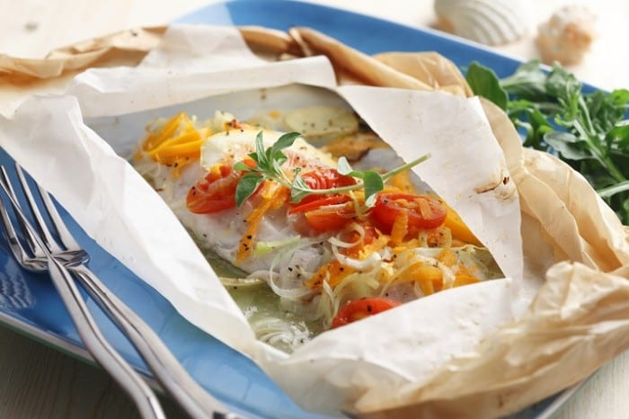 Baked Fish with Squashed Tomato Parcels 700x466