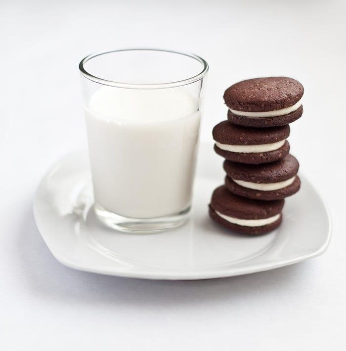Copycat Oreos with Salted Chocolate Milk