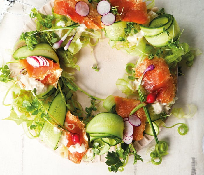 Gold Oak Smoked Trout Salad Wreath