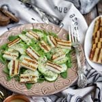 Grilled Halloumi and green bean salad