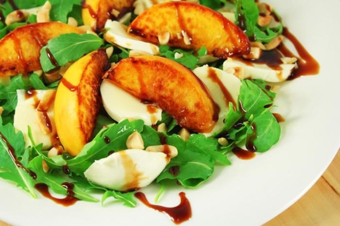 Peach Salad with Mozzarella Almonds and Prosciutto 700x489 1