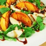 Peach Salad with Mozzarella Almonds and Prosciutto 700x489