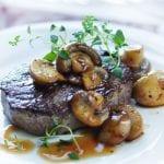 Steak with Mushrooms and Buffalo Mozzarella