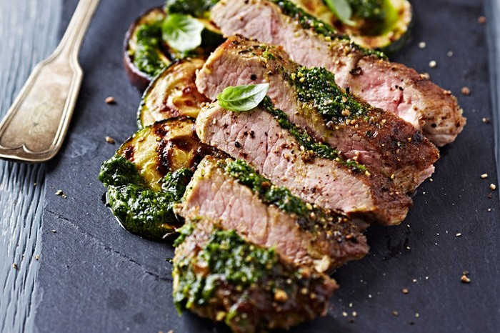 grilled steak basil
