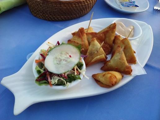 Samoosas on a plate in a Durban restaurant