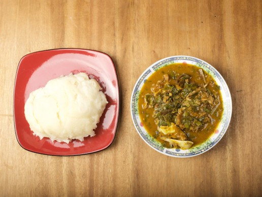 Nigerian Food oha soup and fufu
