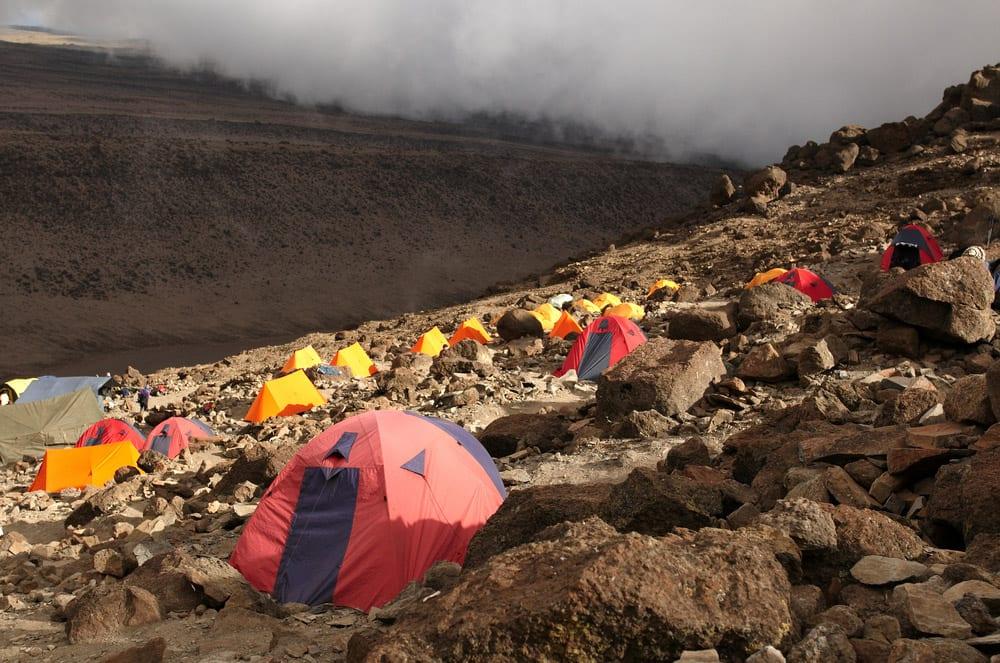 kilimanjaro tents and climbers
