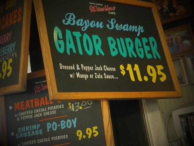 cajun food gator burger french quarter